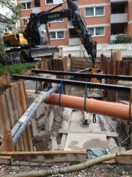1. FW-Trogkanal unter zurückgebauten Regenwasser-Trogkanal mit prov. KG-Rohr-Vorflut